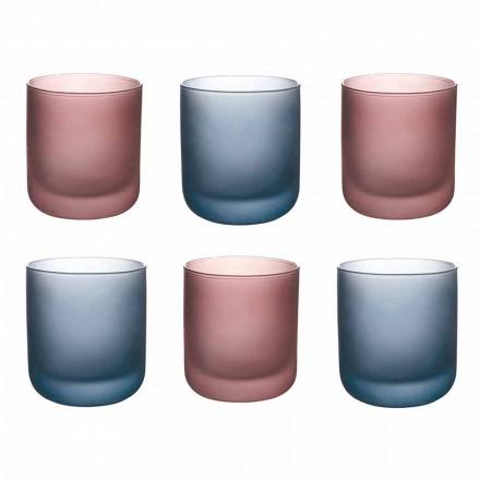 Vasos de agua de colores en vidrio esmerilado con efecto hielo, 12 piezas - Norvegio