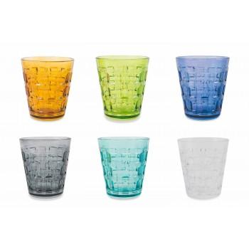 6 Servicio coloreado Vidrio coloreado Vasos de agua - Entrelazado