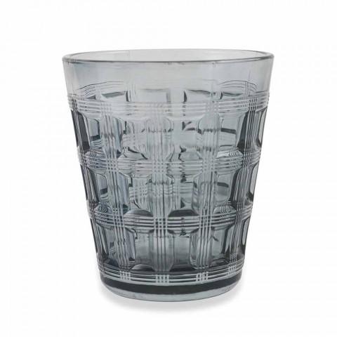 6 Servicio coloreado Vidrio coloreado Vasos de agua - Entretejido
