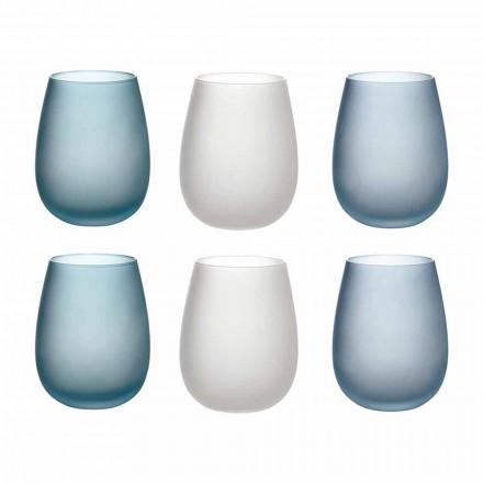 Vasos de agua en vidrio esmerilado de colores Servicio completo 12 Piezas - Otoño