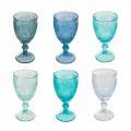 12 copas de vidrio para vino o agua de colores - Mazara