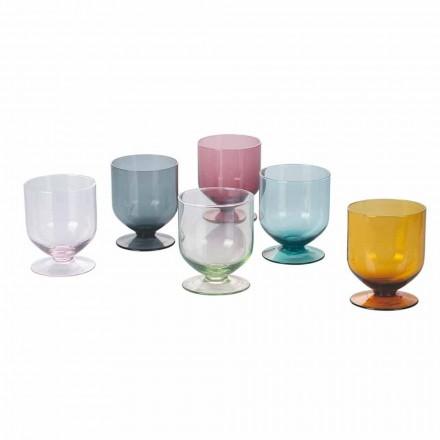 Vasos de colores en Vidrio de Diseño Original, Servicio de 12 Piezas - Rebozado