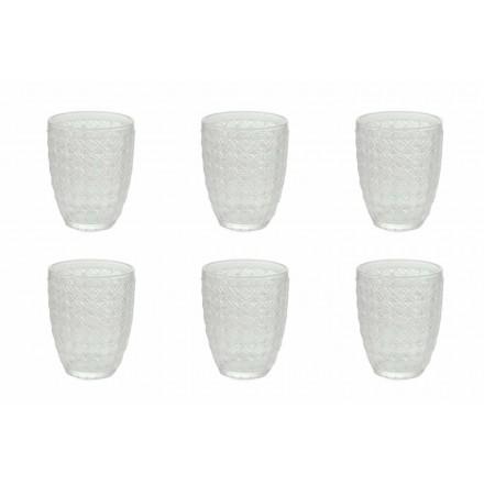 Vasos para servir de 6 piezas en vidrio transparente para agua - Óptico