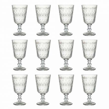 Copas de vino en vidrio transparente decorado 12 copas de diseño - Maroccobic