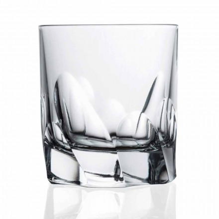 Vaso de cristal decorado Whisky o agua 12 piezas Diseño Dof - Titanio