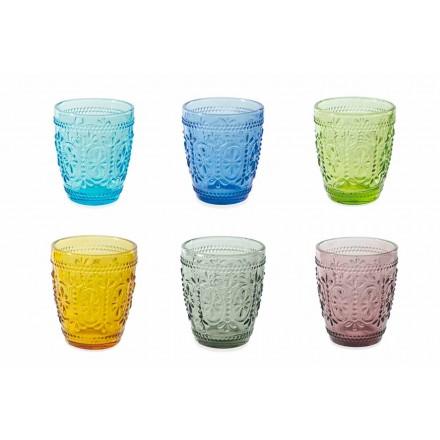 Set de 6 vasos de agua decorados y de colores - Pastel-Palazzo