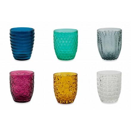 Vasos decorados de vidrio coloreado moderno que sirven agua 6 piezas - Mezcla