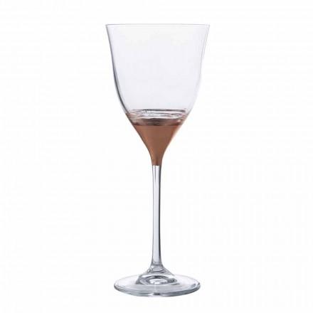 Copa de agua de cristal con decoración de bronce, oro o platino 12 piezas - Soffio