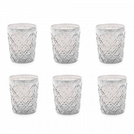 Vasos de vidrio transparente con decoraciones, servicio de agua de 12 piezas - Marruecos