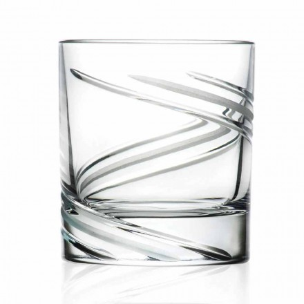 Vasos de vaso bajo en cristal ecológico decorados a mano, 12 piezas - Ciclón