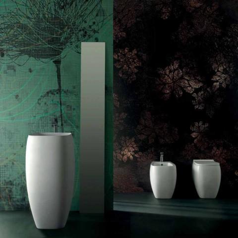 Bidé de cerámica blanca con diseño moderno Gais, hecho en Italia.