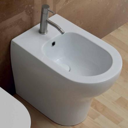 Bidé de cerámica de diseño moderno blanco 54x35 cm, hecho en Italia.