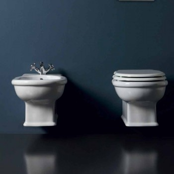 Moderno colgante de pared de bidé en cerámica blanca Estilo 54x36 cm, hecho en Italia