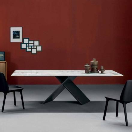 Mesa de diseño plano Bonaldo Axe en base de metal de cerámica hecha en Italia