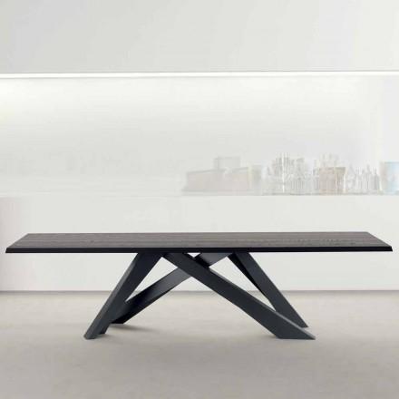 Mesa de madera maciza antracita maciza Bonaldo Big Table fabricada en Italia