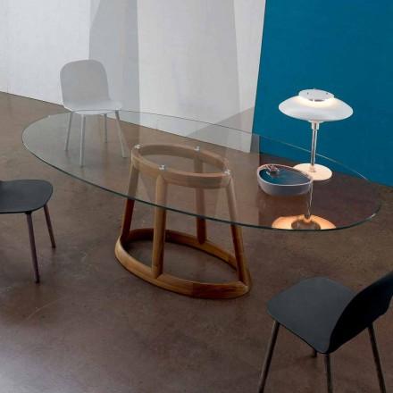 Mesa oval Bonaldo Greeny en cristal y diseño de madera realizada en Italia