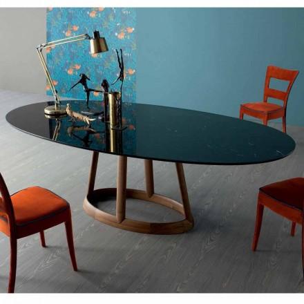 Mesa oval de diseño Bonaldo Greeny en mármol Marquinia made in Italy