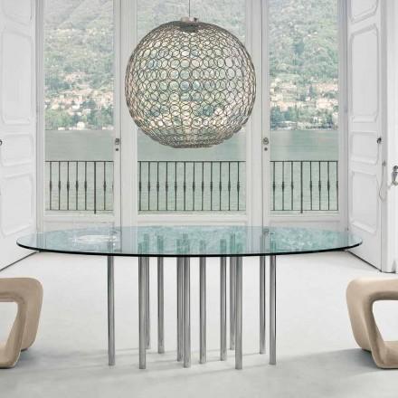Mesa redonda Bonaldo Mille en cristal y acero cromado hecha en Italia