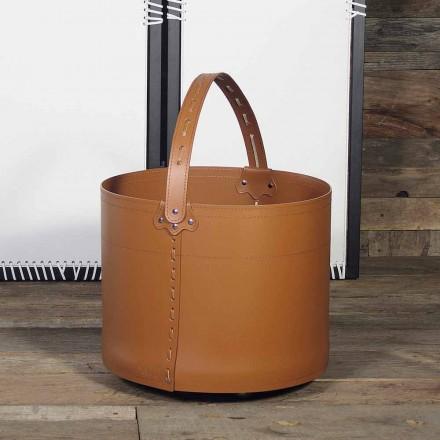 Bolsa porta leña de cuero 100% made in Italy modelo Milo