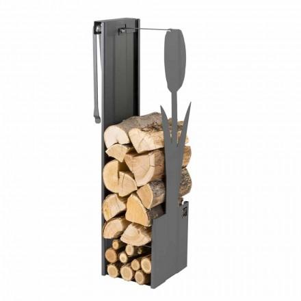 Soporte interno de madera negra con diseño moderno y herramientas - Maestrale3