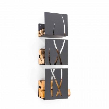 Soporte de leña montado en la pared de diseño moderno en acero negro 3 piezas - Garigliano