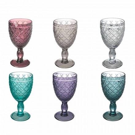 Copa de vino o agua en vidrio coloreado o transparente con decoraciones, 12 piezas - Rocca