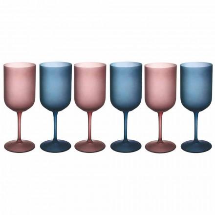 Copas de vino de colores en vidrio esmerilado con efecto hielo 12 piezas - Norvegio