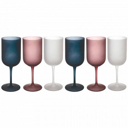 Copas de vino de vidrio esmerilado con efecto grava de colores, 12 piezas - Otoño