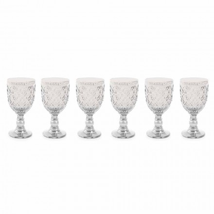 Copas de Vino de Vidrio Transparente con Decoración Arabesco 12 Piezas - Marruecos