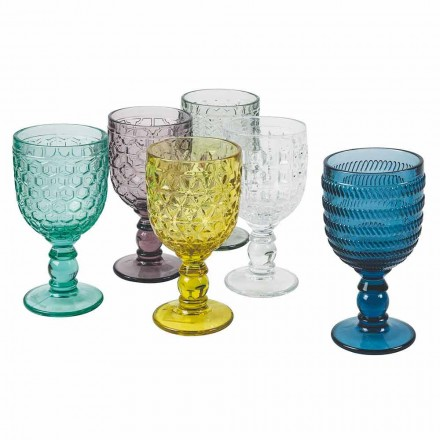 Copas Decoradas De Vidrio De Colores Servicio De Agua O Vino 12 Piezas - Mezcla