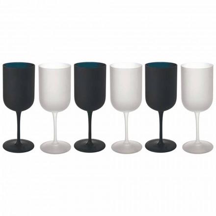 Copas en Vidrio Esmerilado Servicio Vino Blanco y Negro 12 Piezas - Norvegiomasai