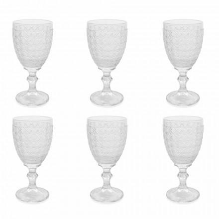 Copas de vino en vidrio transparente y decoraciones en relieve, 12 piezas - Aperi