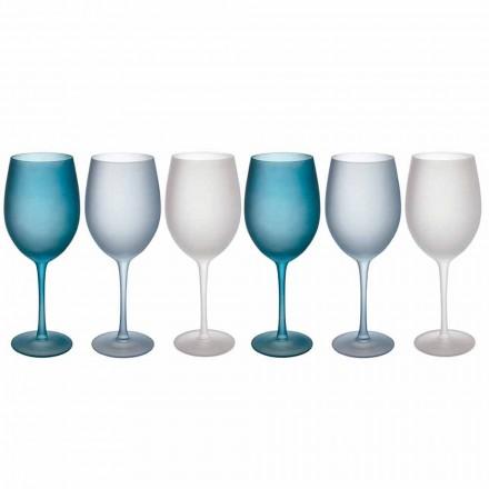 Copas de vino de colores en vidrio esmerilado con efecto hielo, 12 piezas - Otoño