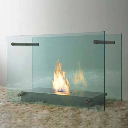 Chimenea de bioetanol para piso en diseño de vidrio y acero para interior - Edison