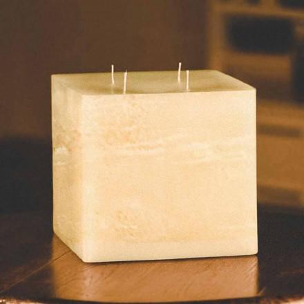 Vela de cera moderna cuadrada hecha a mano Made in Italy - Mondeo