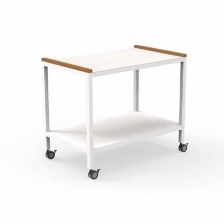 Carrito de cocina para exteriores en aluminio y teca 2 estantes - Carrito by Talenti