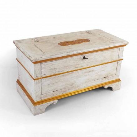 Cofre hecho a mano en madera maciza con perfiles dorados Made in Italy - Caio
