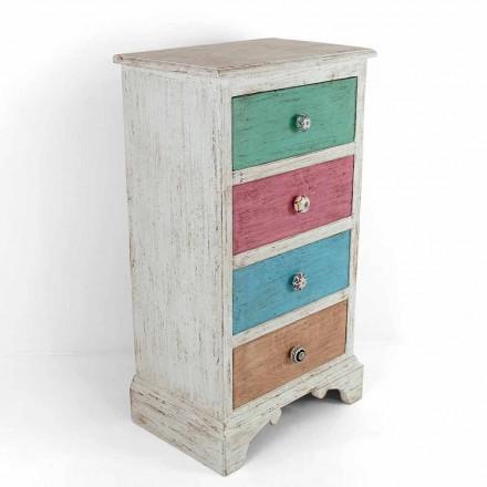 Cómoda artesanal con 4 cajones en madera blanca Made in Italy - Manhattan