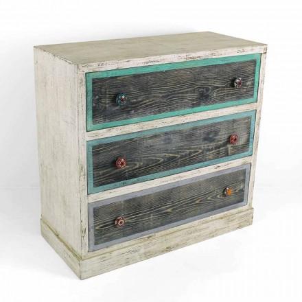 Cajonera artesanal en madera de abeto con 3 cajones Made in Italy - Mono