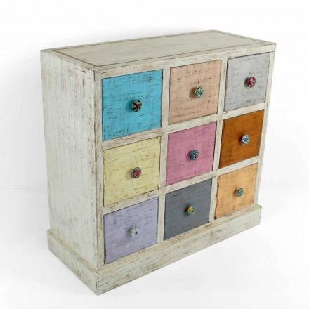 Cómoda artesanal de madera maciza con 9 cajones Made in Italy - Pierrot