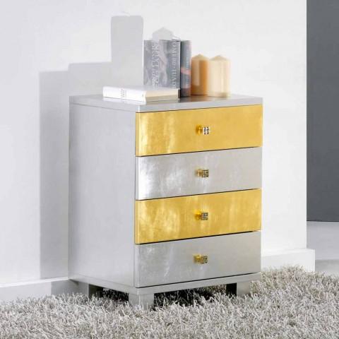 Cajón de diseño de plata y oro en la madera Etty, fabricado en Italia