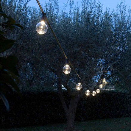 Cable de neopreno para exteriores con 8 bombillas LED incluidas Made in Italy - Fiesta