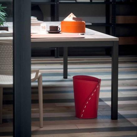 Papelera de cuero para despacho Servus, hecha a mano en Italia.