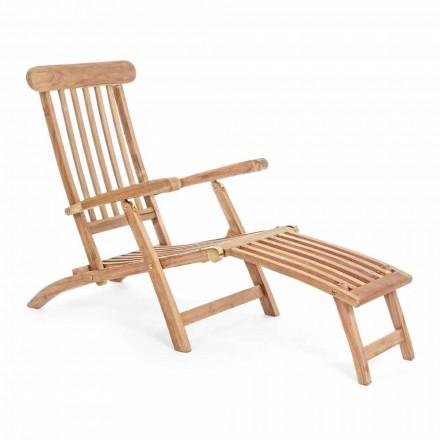Chaise Longue de exterior en madera de teca con respaldo reclinable - Simonia