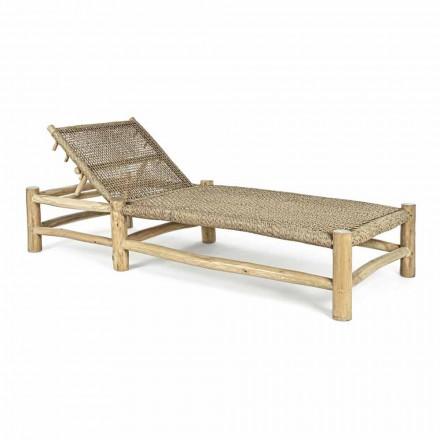 Chaise Longue de exterior en ramas de teca y tejido de fibra sintética - Tecno