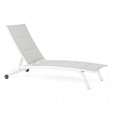 Chaise Longue para exterior en Textilene y Aluminio con Ruedas, 4 Piezas - Babilonia
