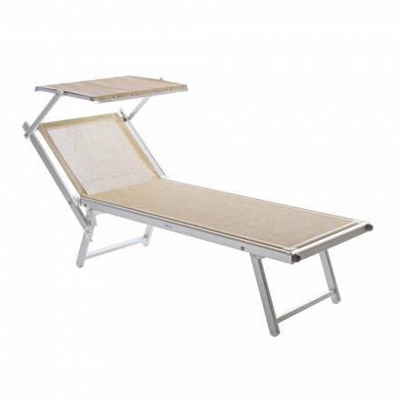 Chaise Longue de jardín moderno con sombrilla y respaldo reclinable - Arnold