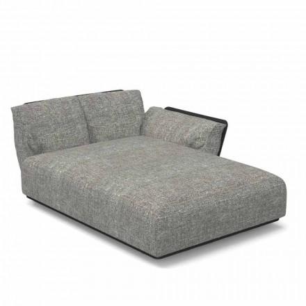 Chaise Longue de jardín modular izquierda de tela y aluminio - Scacco Talenti