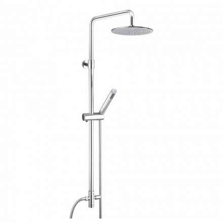 Columna de ducha de sección redonda de latón con ducha de mano Made in Italy - Amadeo