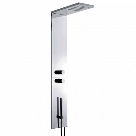 Columna de ducha termostática de pared en acero inoxidable cromado Made in Italy - Pampo